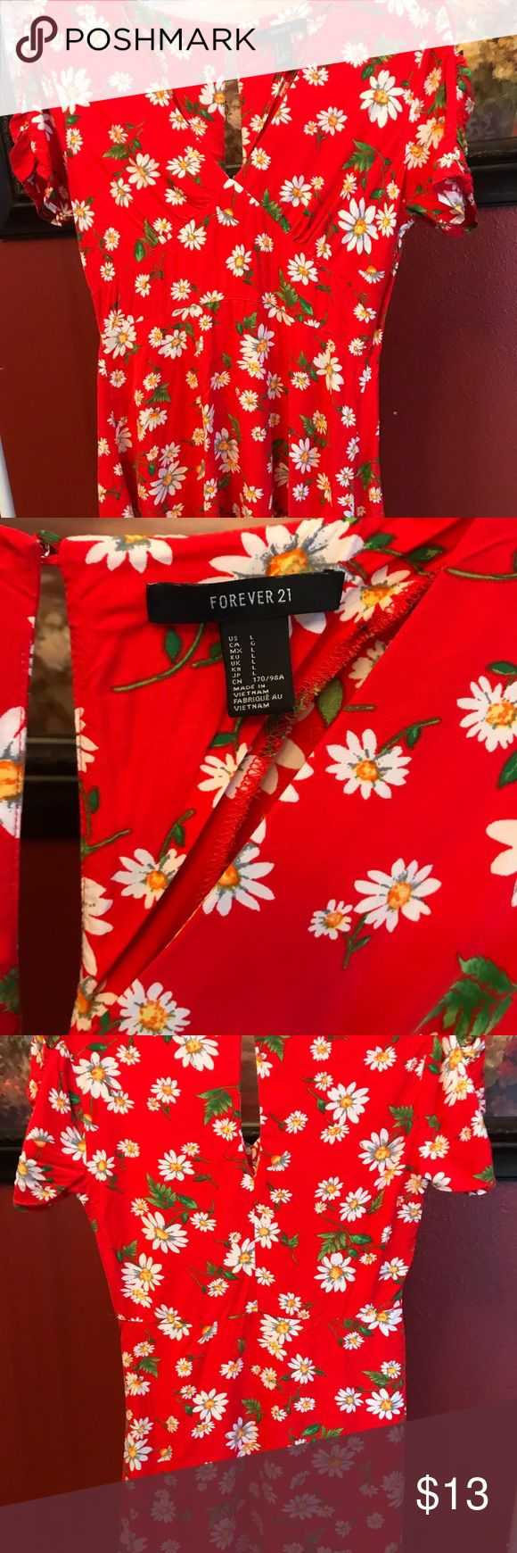 "🔥Forever 21 Red Flower Dress🔥 Length 23"" Bust 17"" 100% Rayon  Location P3 Forever 21 Dresses Mini"