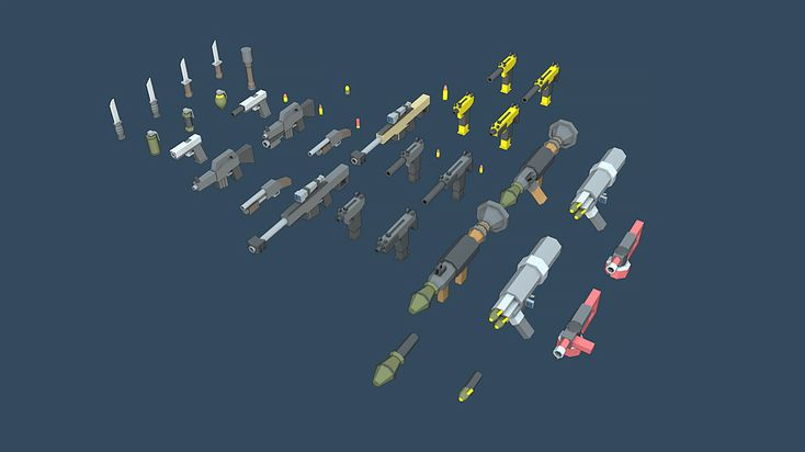 This package includes 30 different weapons ranging from knifes and grenades to pistols and even rocket launchers. Also included are bullet casings and 2D renders of the models.