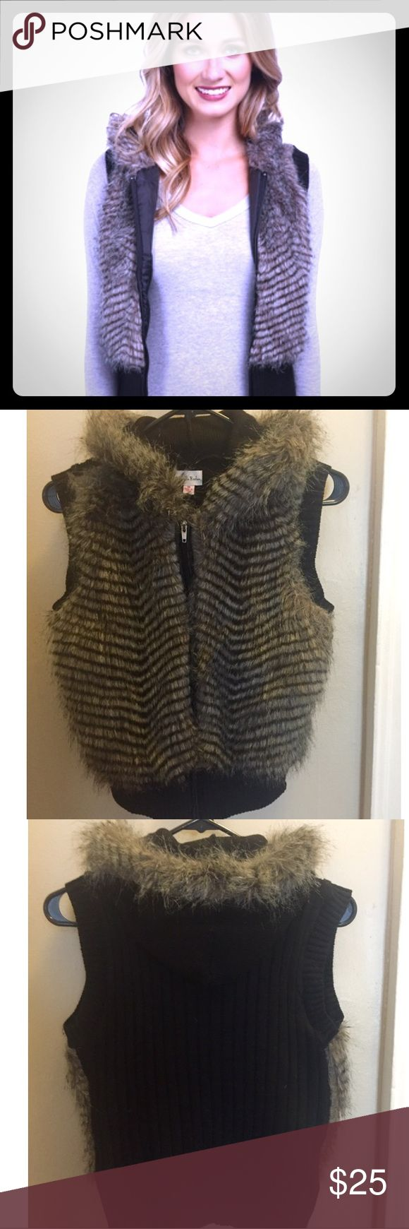 Gabriella Rocha Hooded Faux Fur Vest Too cute! Hooded, zip-up fur vest by Gabriella Rocha! The back is a sweater type material. Never been worn, in perfect condition! Women's Medium (could also fit a small) *Smoke-Free Home* Feel free to make an offer : ) Gabriella Rocha Jackets & Coats Vests