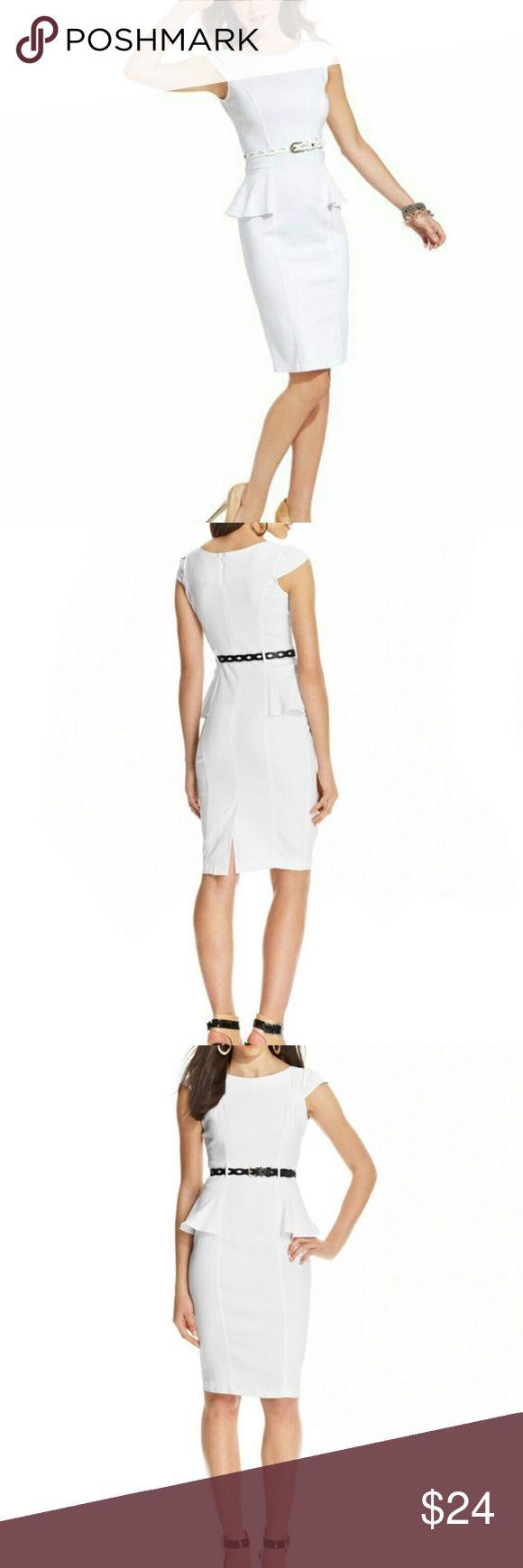 NWOT White peplum dress with cap sleeves Great business dress XOXO Dresses