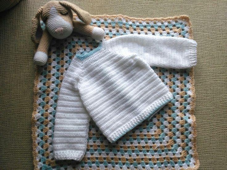 Jersey bebé y mantita de apego (esta última con patrón cortesía de @tejiendoperu)