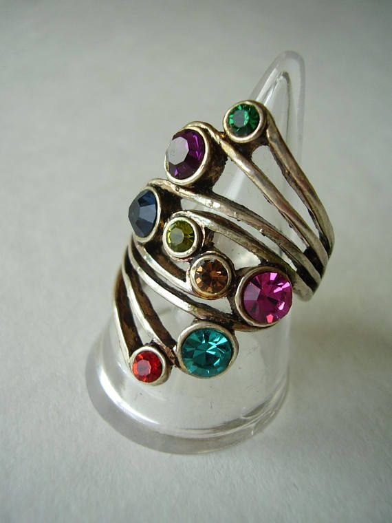 Ring Rainbow Crystals Wrap Design Pierced Band UK Size 0 US