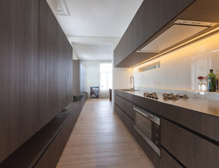 Long Kitchen With Extra Long Bench By Belgian Architect Pieter Thooft. Warm  White LED Strip