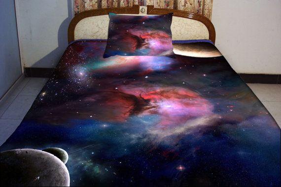 Galaxy bedding set two sides printing galaxy twin by Tbedding, $138.00