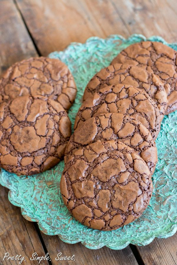 Chocolate Fudge Cookies - double recipe for Christmas.    Will fall flat if not refrigerated - 45-60 minutes.  Drizzle with melted almond bark and crushed candy canes.