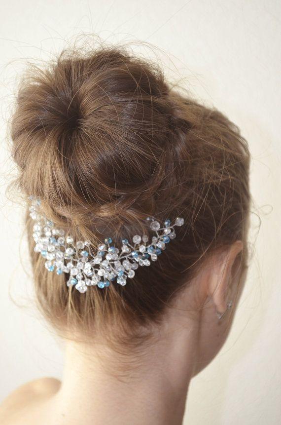 Blue Bridal Headpiece Crystal Wedding Hair Piece by NovaHandmade