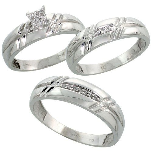 Simple k White Gold Diamond Trio Engagement Wedding Ring Set for Him and Her piece