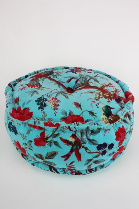 Cushions, Throws & Pouffes : Turquoise Velvet Bird Pouffe