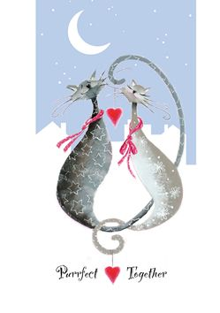 The Couple, looking really 'loved up', from fine artist, Marilyn Robertson's Catitudes range