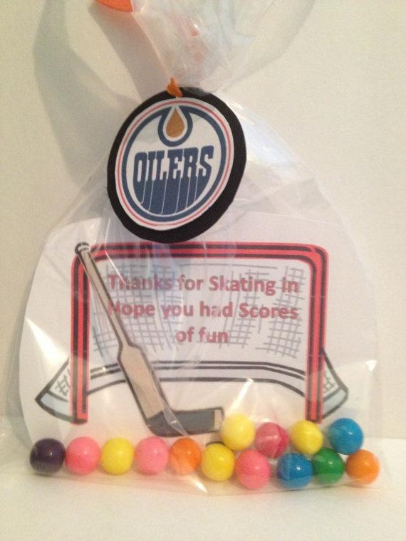 Hockey Favour Bag by NottsAndBows on Etsy, $10.00