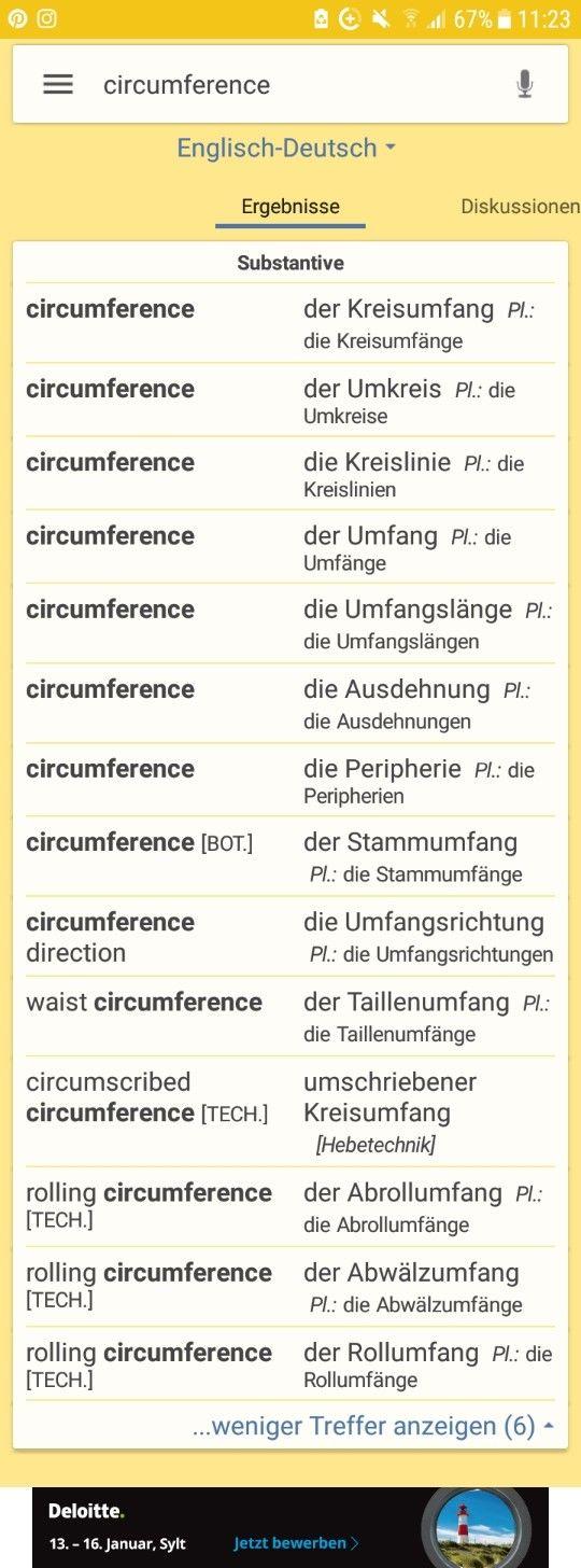 the circumference = Kreisumfang, Umkreis, Kreislinie.    www.schulminator.com : U = 2 x pie x  r
