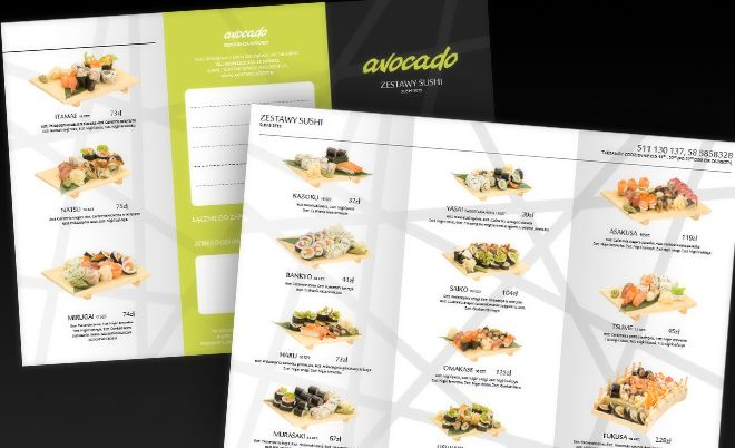 Avocado: Creations for sushi restaurant - Jamel Interactive interactive agency Gdansk, Tricity