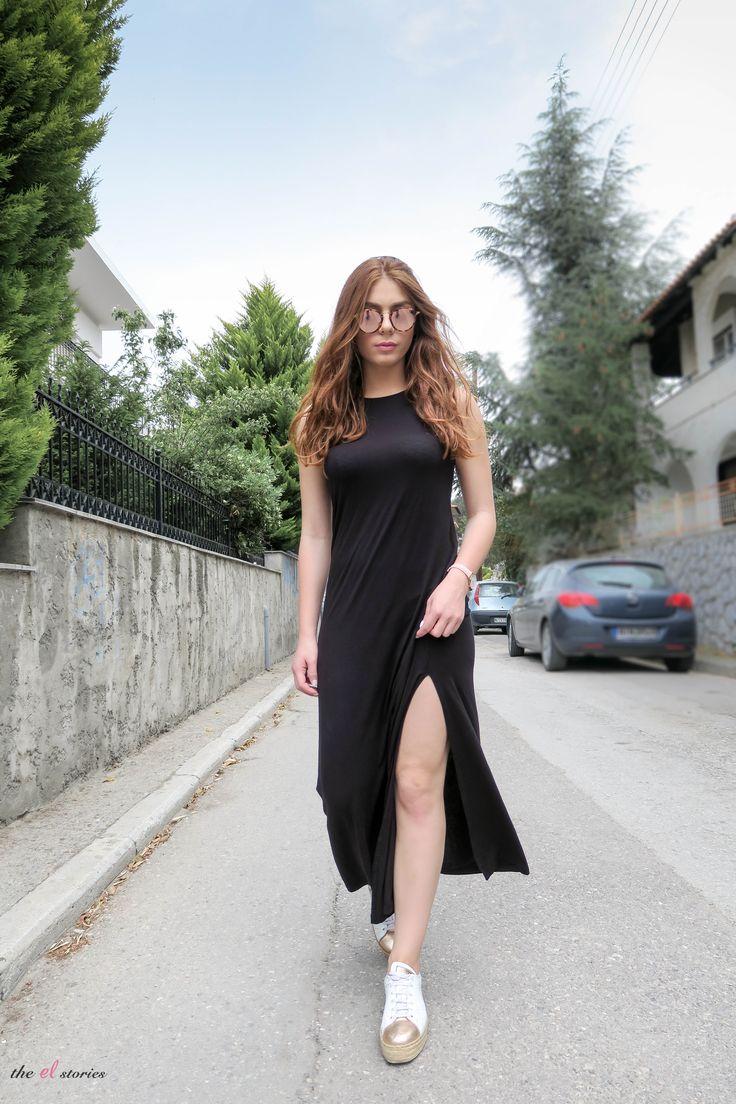 White Sneakers - Black Maxi Dress - Street style - Summer 2017