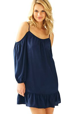 Candice Open Shoulder Dress True Navy: $188