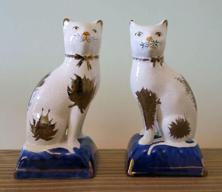 19th Century Victorian Rare Pair Of Staffordshire Cat