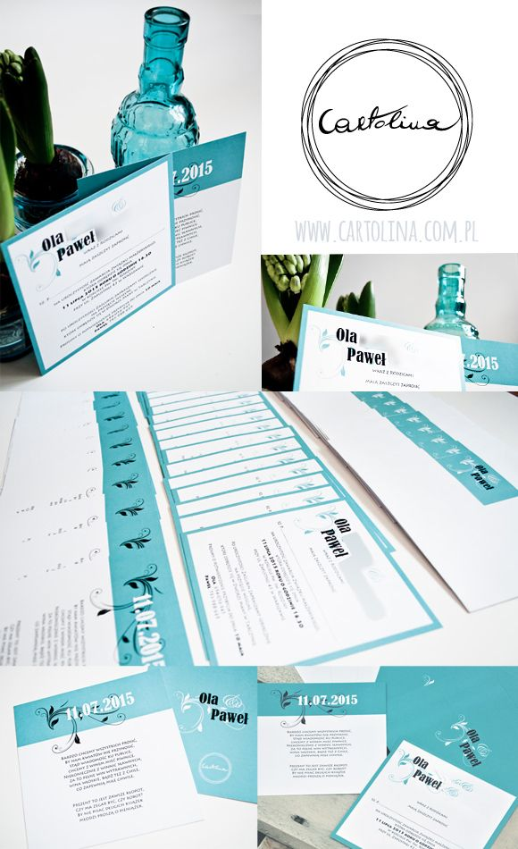 Zaproszenia ślubne Zaproszenia ślubne Turkus by Cartolina www.cartolina.com.pl wedding invitations