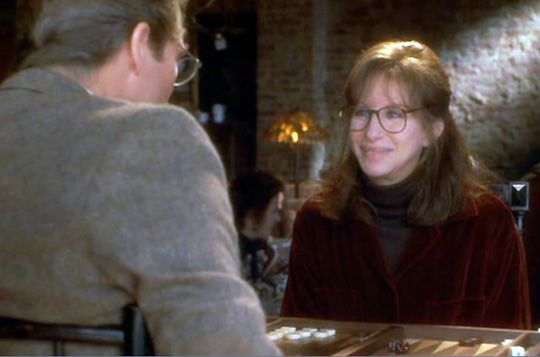 "Barbara  Streisand vs. Jeff Bridges in a scene from ""The Mirror Has Two Faces              Play backgammon > on.fb.me/1869cF3"