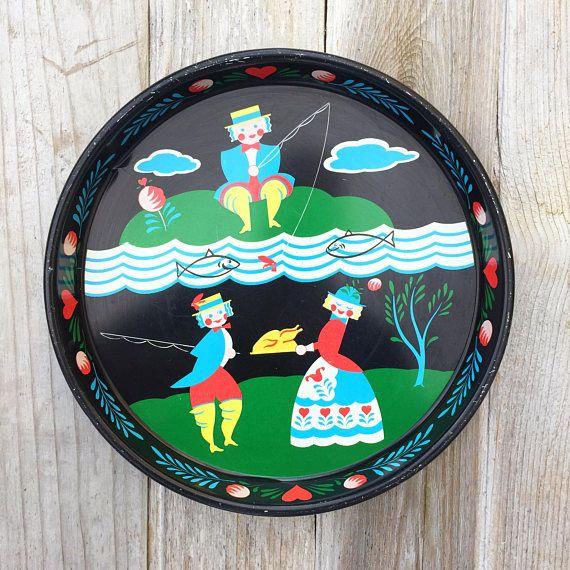 Set of 2 Vintage Scandinavian Folk Art Serving Trays