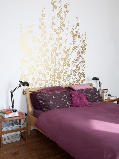 gold paint headboard house ideas pinterest plum bedding gold walls and gold. Black Bedroom Furniture Sets. Home Design Ideas