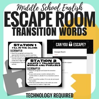 This Transition Words and Phrases Escape Room is great for beginning of the year review and pre-assessment. It is also great for the end of the year review before and after state tests. Students will need to access a Google Form, so ANY technology that allows them to access and complete a Google Form will work!