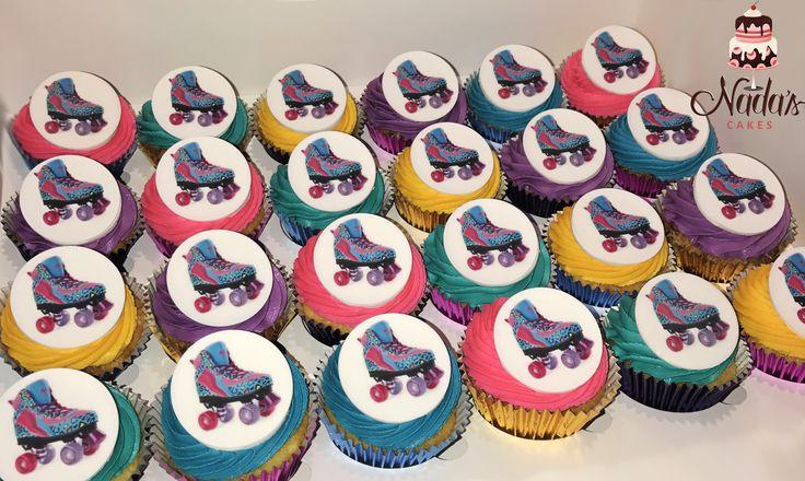Rollerskates Themed Birthday Cupcakes