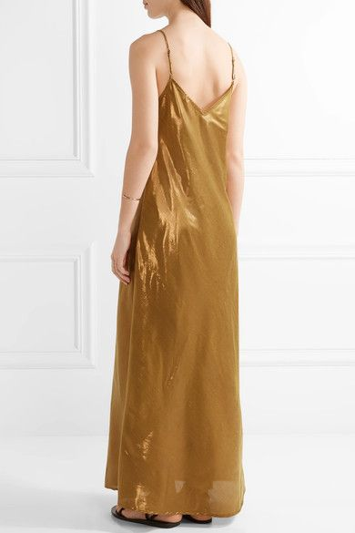 Mes Demoiselles - Brune Lamé Maxi Dress - Bronze - FR38