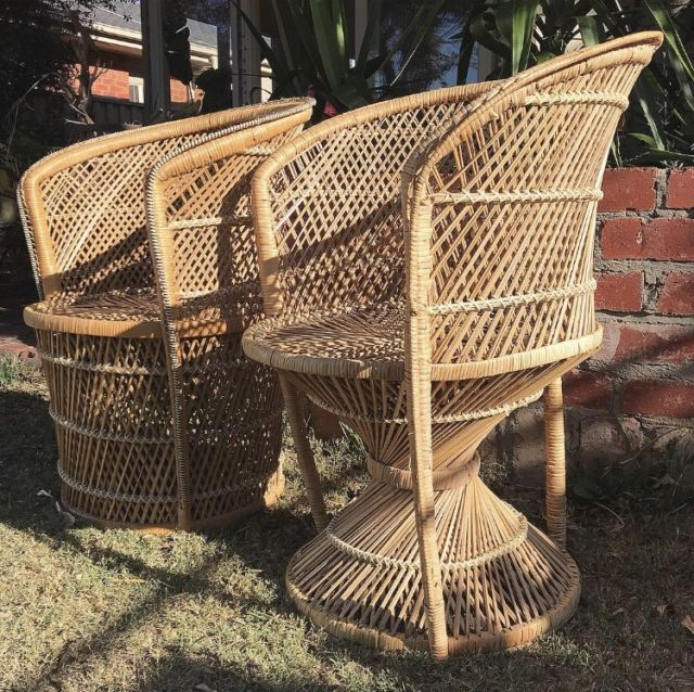 Vintage Peacock Chairs Pair Wicker Tub Chairs Boho Armchairs