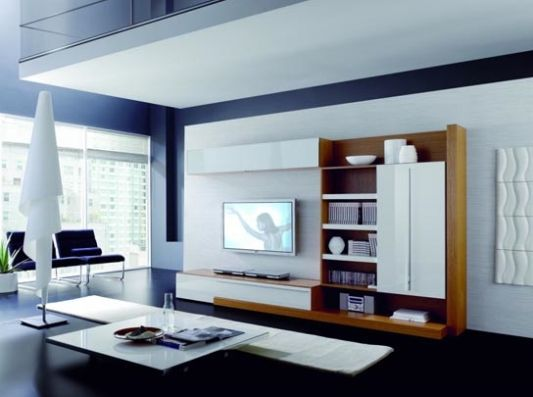modern living room wall unit - white and wood