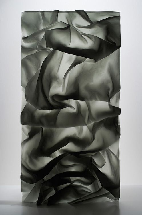 Karen La Monte, Ink in Water Drapery Study, 2008 (Cast Glass)