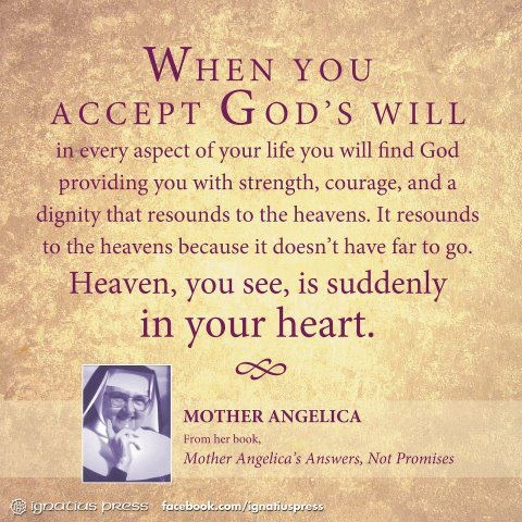 When you accept God's will in every aspect of your life you will fine God… - Mother Angelica
