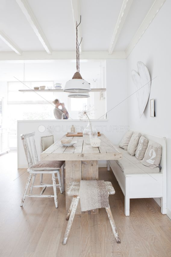 Idea For Island Dining Room Lighting Love The Neutral Colours Like Small Stool At End Od Table Floors And Heart On Wall