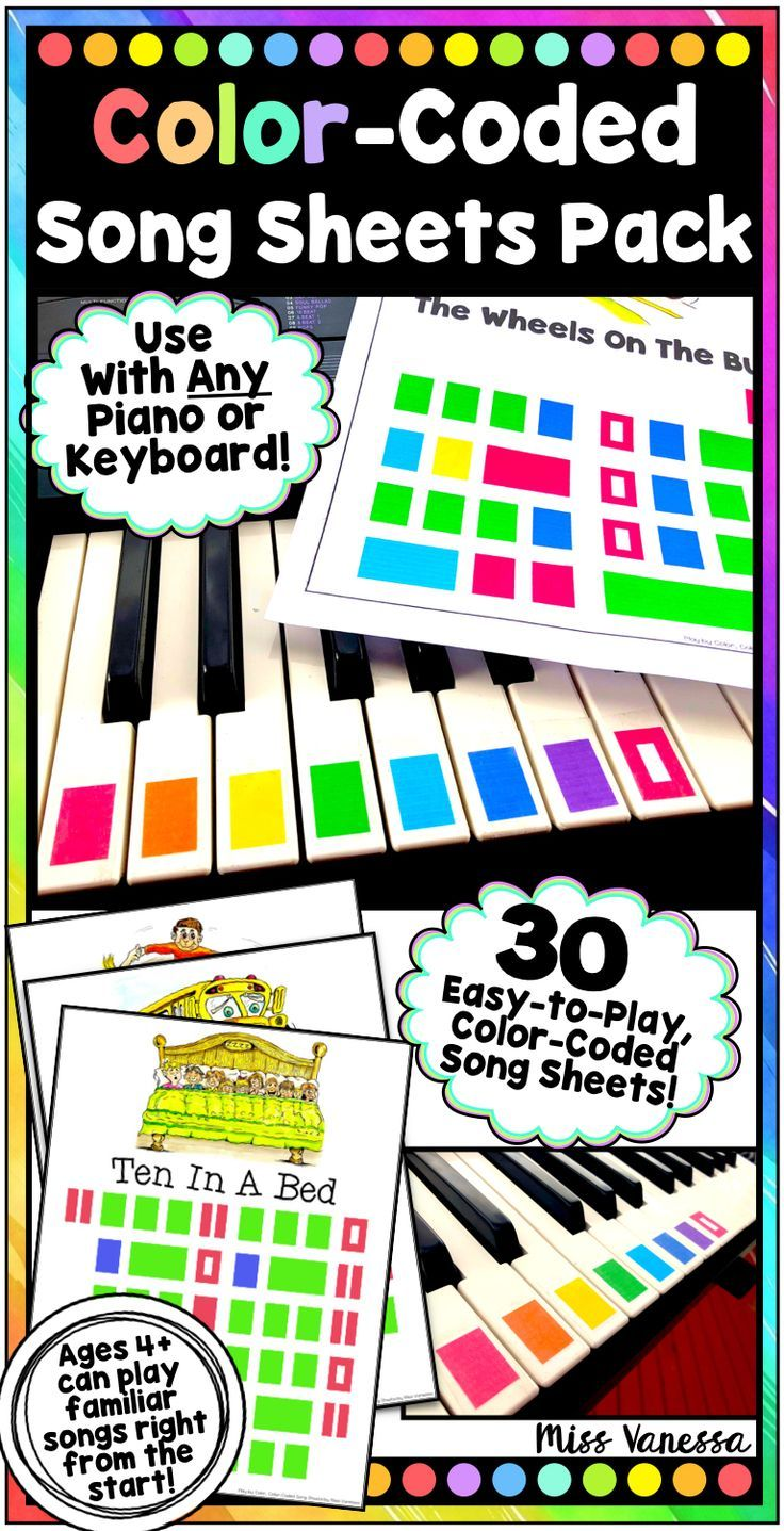 Play By Color Color Coded Song Sheets Bundle For Beginning Piano Players Ages 4 Can Play Familiar Songs Ev Music Lessons For Kids Piano Teaching Kids Piano [ 1437 x 736 Pixel ]
