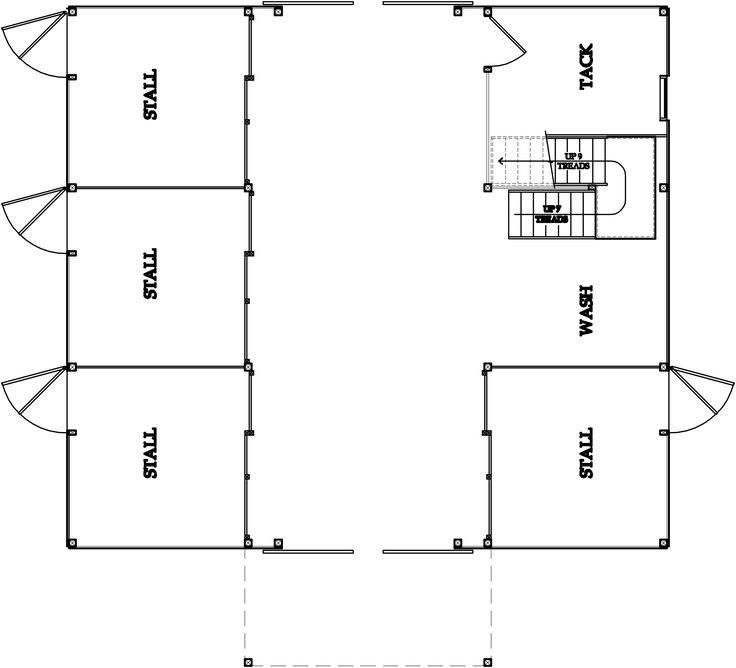 Barn floor plans for 2 cows and 2 pigs dream house for Horse barn with living quarters floor plans
