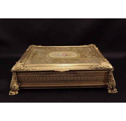 Античный Французская империя свинка Bonze Большой ларец Jewelry Box Case вышивки