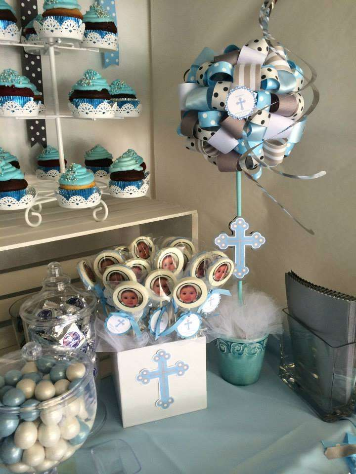 BLUE AND GRAY Baptism Party Ideas | Photo 8 of 16 | Catch My Party