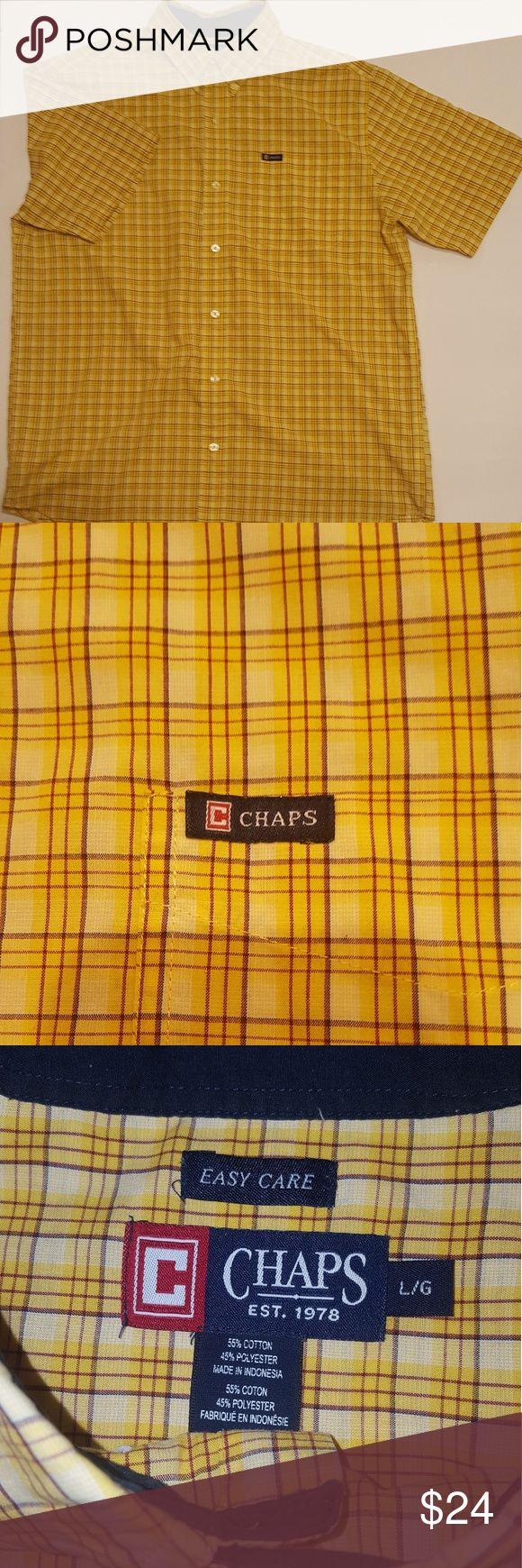 Men's Chaps SHIRT (Large) Short Sleeve Plaid Men's Chaps SHIRT (Large) Short Sleeve Plaid Button Down Front With Button Down Collar #S-0064 Chaps Shirts Casual Button Down Shirts