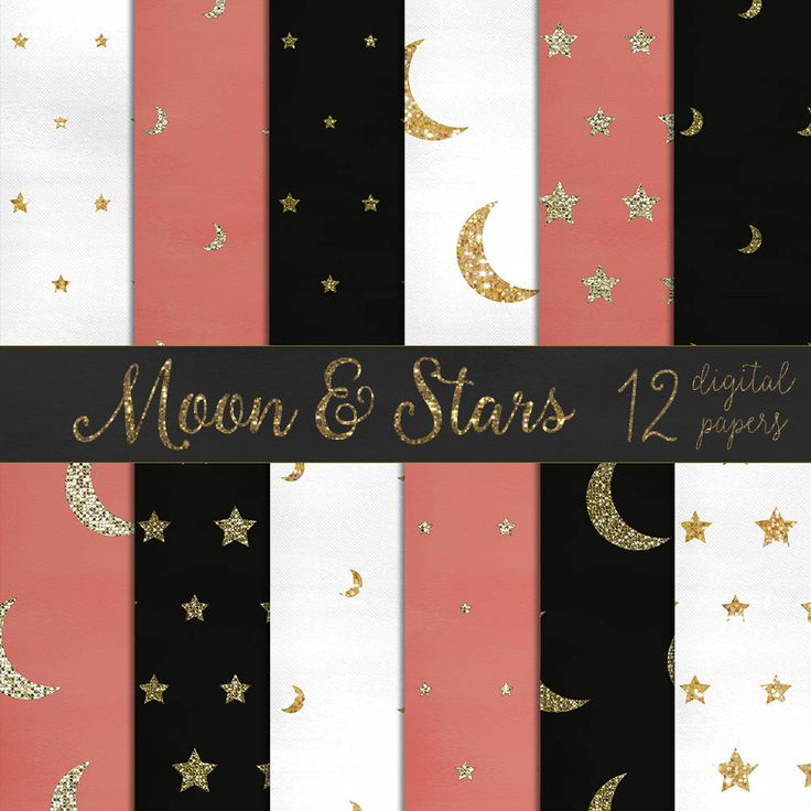 Moon and stars digital papers, moon digital papers, stars digital papers, glitter stars, glitter moons, gold glitter papers DIGITAL DOWNLOAD by theskippingcricket on Etsy