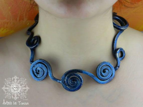 torque blue atlantide wrought iron spiral collar ocean