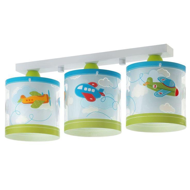 Παιδικό Φωτιστικό Baby Planes Οροφής Τρίφωτο διπλού τοιχώματος σε ράγα