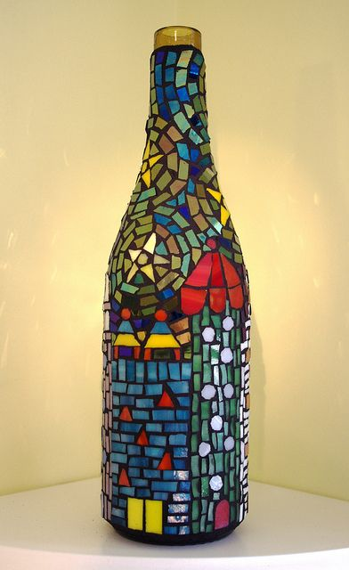 Mosaic wine bottle by Meaco's Art Garden, via Flickr