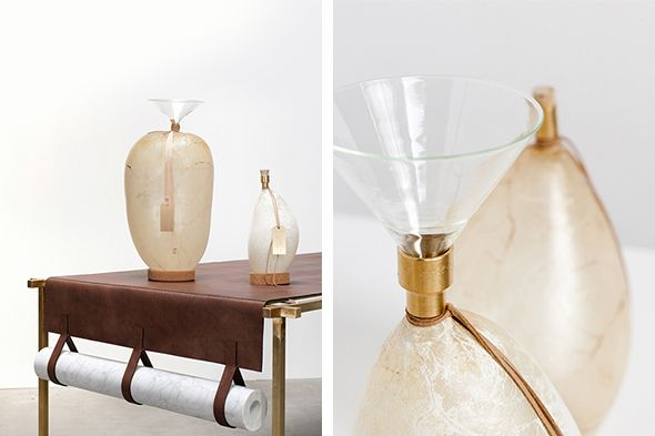 Craftica Tableware - Formafantasma Bladders water containers, 2012 Pig and cow bladders, brass,  mouth blown glass, cork.