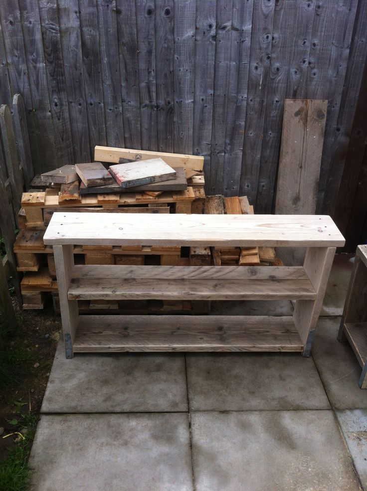 Bookcase made from scaffold planks. Unfinished, just sanded.