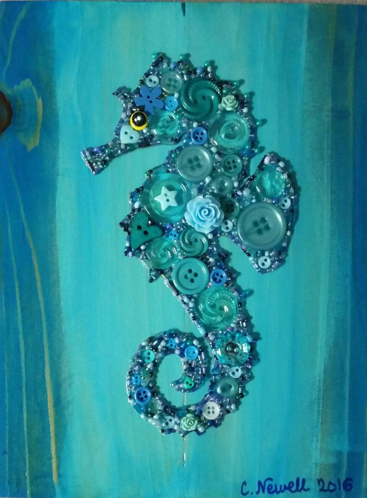 Seahorse in Buttons with Acrylic Paint Background on Recycled Wood #button #art #seahorse # ...