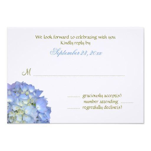 Blue Moon 3x5 Hydrangea Reply Cards Custom Announcement