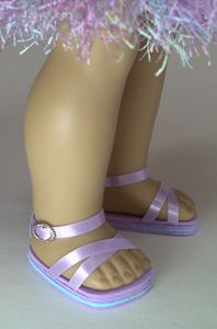 18  inch Doll sandals. Cardboard cut to size and painted. Glue on ribbon or elastic.