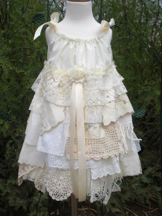 Lace flowergirl dress country shabby chic vintage linen for Country sheek wedding dresses
