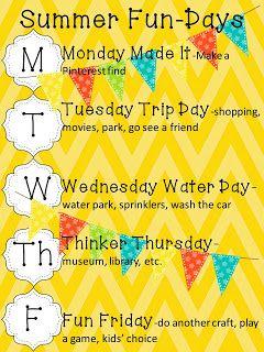 Summer Fun Days plan sheet/printable/freebie