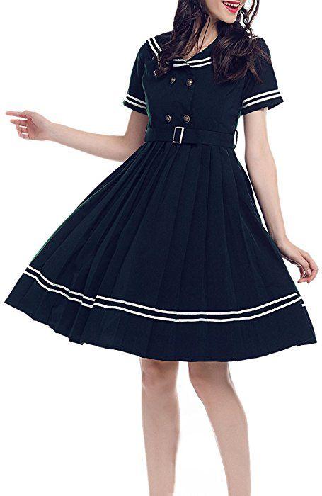 Amazon Com Lemail Women Navy Sailor Cocktail Dress 1950s Vintage