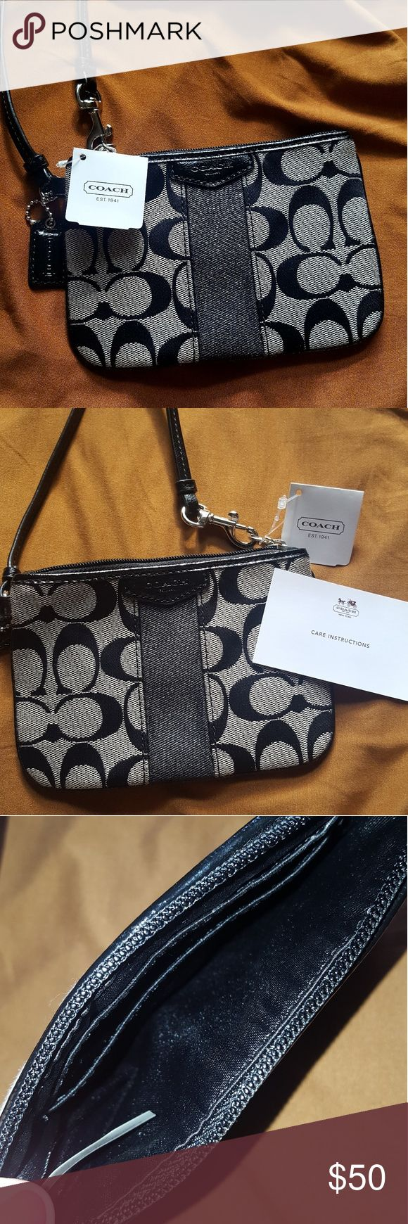 Coach Classic Wristlet-NWT Coach wristlet NWT, classic beige/grey and black with wrist strap and care instructions card. Never used!! Very clean inside and still in new shape (meaning that it's not stretched or bent at all). Included are pictures inside and out, feel free to contact me with any questions. Coach Accessories