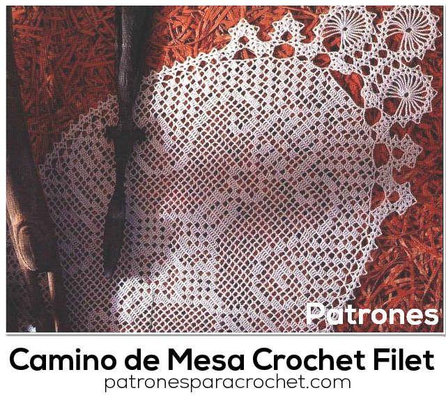 Camino de mesa tejido al crochet que combina crochet filet con encaje de brujas